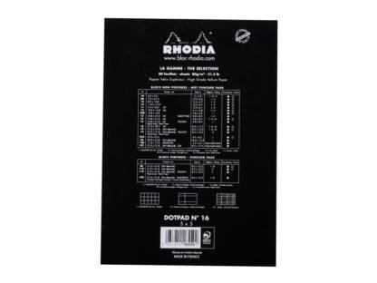 Blocnotes capsat A5 dotPad Rhodia negru spate