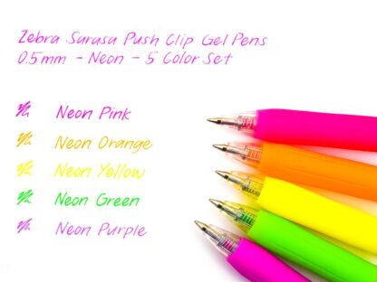 Pix cu gel Sarasa Neon 5 culori/set Zebra exemplu