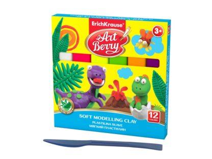 Plastilină ArtBerry cu Aloe Vera, 12 culori + cuțit modelaj