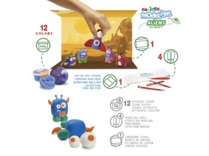 Plastilină ModeLight Maxi PlayBox Carioca Aliens detalii
