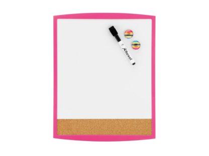 Tablă magnetică albă combo cu ramă color roz